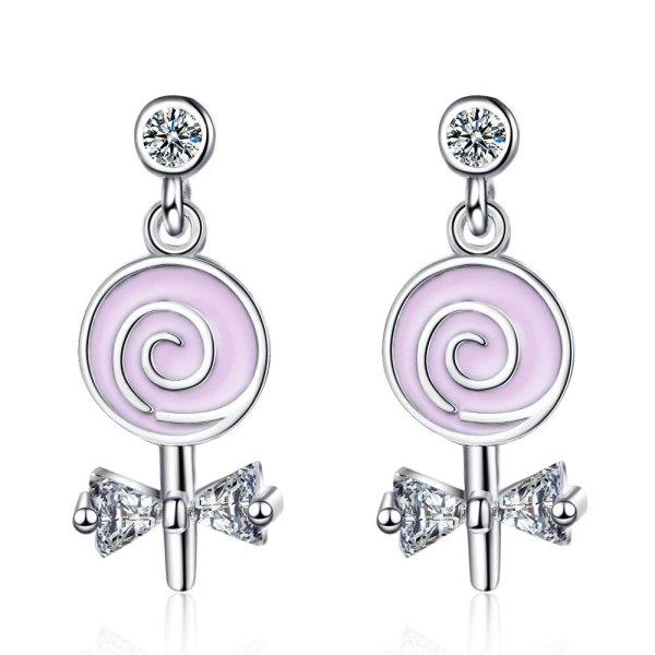 New Fashion Sweet Stick Candy Stud Earrings Female College Style Zircon Bow Small Earrings Xzed896