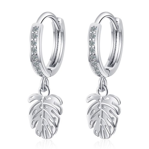 Earring Button Women's Korean Version Small Fresh Diamond Leaf Earrings Temperament Leaf Earrings Stud Earrings XZeh573