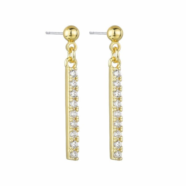 S925 Pure Silver Earrings Temperament Earrings Stylish Competent AAA Zircon Inlaid Columns Simple Earrings Girls Gift Qx3MM