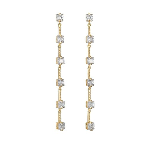 New Trend S925 Pure Silver Ear Pin Tassel Long Simple Fashion Korean Zircon Earrings Girl Gift Earrings Qxwe1316