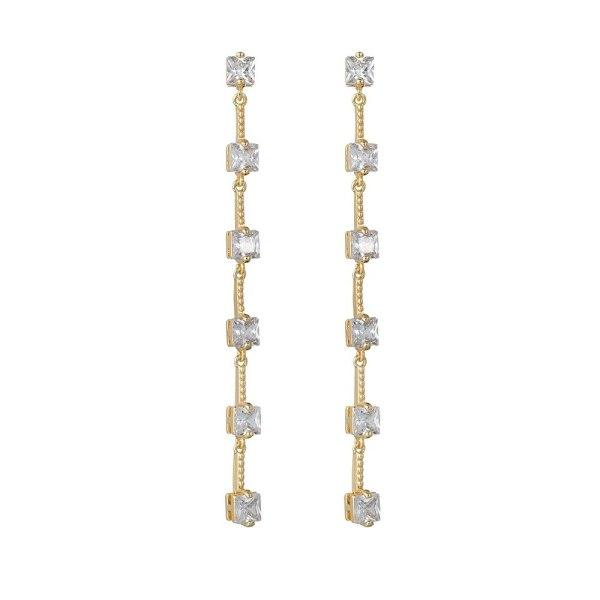 New Trend S925 Pure Silver Ear Pin Tassel Long Simple Fashion Korean Zircon Earrings Girl Gift Earrings Qxwe1316