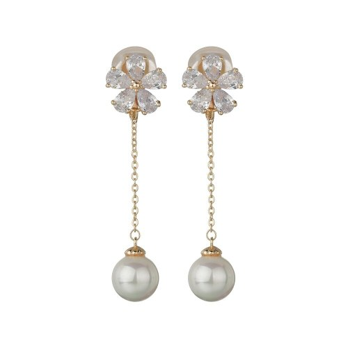 Flower Ear Clip Tassel Pearl Earrings Girls Korean Version Temperament Ear S925 Pure Silver Needle No Ear Hole Ear Clip QxWE1095