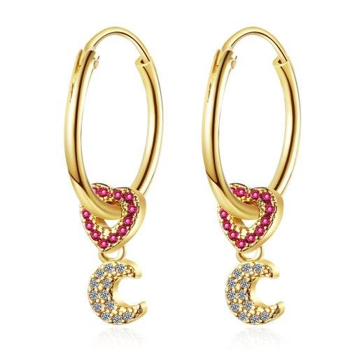 Korean Stud Earrings Diamond Moon Love Earrings Women XzEH574
