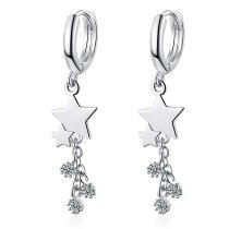 Korean Earrings Female Sweet Diamond Star Earrings Long Personality Pentagram Earrings Female XzEH576