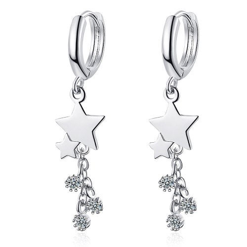 Korean Earrings Female Sweet Diamond Star Earrings Long Personality Pentagram Earrings Female XzEH576
