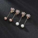 Flower Ear Clip Tassel Pearl Earrings Girls Korean Version Temperament Ear S925 Pure Silver Needle No Ear Hole Ear Clip QxWE1095