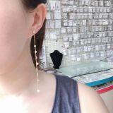 Earrings Long Thin Earrings S925 Pure Silver Earrings Geometry Su Zircon Earrings Korean Version QxWE974