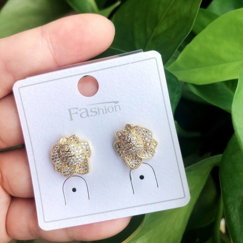Flower Natural Micro Inlaid AAA Zircon Stud S925 Pure Silver Ear Pin Wholesale Fine Earrings Qxwe1560