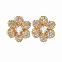 Korean Fashion Fine Full Zirconium AAA Earrings S925 Pure Silver Ear Needle Flower Earrings Qxwe1382