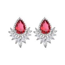 AAA Water Drop Zircon Exquisite European and American Earrings Fashion Earrings Pure Silver Pin Gorgeous Earrings Qxwe1135