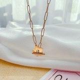 Korean Temperament Fashion Titanium Steel Necklace Jewelry Small Fresh Flower Pendant Clavicle Chain Necklace Wholesale Gb1853