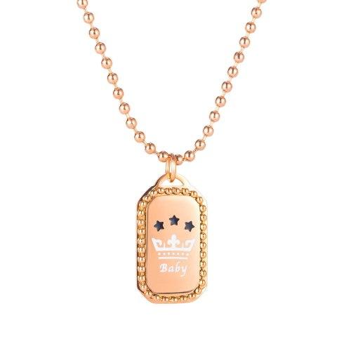 Korea Fashion Crown Titanium Steel Lady Necklace Temperament Square Brand Ins Fashion Clavicle Chain Pendant Accessories Gb1846