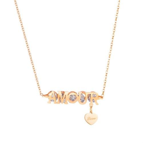 Korean Fashion Exquisite Zircon Versatile Women's Titanium Steel Necklace Love Clavicle Chain Pendant Jewelry Wholesale GB1851