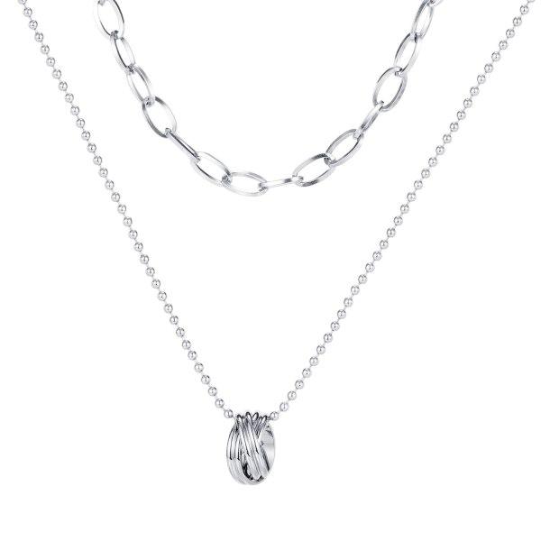 Korean Ins Style Multi-layer Temperament Titanium Steel Necklace Female Fashion Ring Sexy Clavicle Chain Necklace Gb1698
