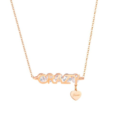 New Ladies Titanium Steel Diamond Necklace Temperament Joker Love Clavicle Chain Pendant Gb1852
