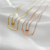 Ins Multilayer Temperament Titanium Steel Necklace Female Stainless Steel Classic Love Bay Brand Clavicle Chain Pendant Gb1855