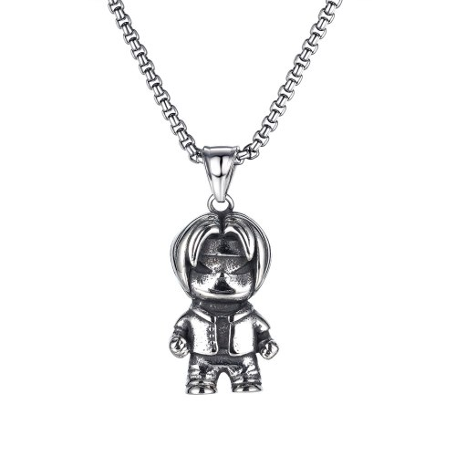 Japan and South Korea Jewelry Wholesale Personality Trendy Cartoon Character Titanium Steel Men's Necklace Accessories Gb1835