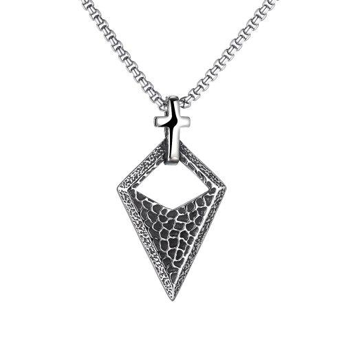 European Retro Cross Triangle Men's Titanium Steel Pendant Personality Hip Hop Necklace Street Fashion Accessory Gb1843
