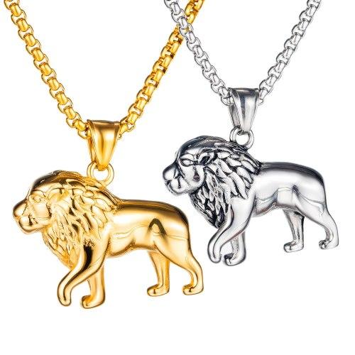 European and American Popular Retro Personality Versatile Lion Accessories Men's Titanium Steel Necklace Gb1701