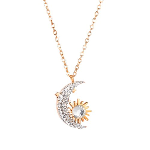 Korean Version New Product Fashion Temperament Moon Sun Diamond Ladies Titanium Steel Necklace Wholesale Gb1850