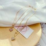 Korean Simple Temperament Double Titanium Steel Necklace Female Creative Love Diamond Clavicle Chain Pendant Wholesale Gb1854