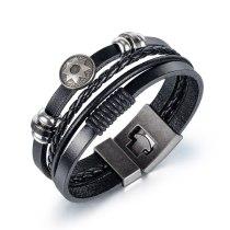 New Religious Retro Sun Flower Men's Bracelet Jewelry Handmade Woven Multi-layer Leather Bracelet Gb1415