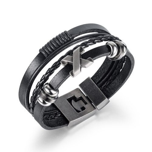 Korean Fashion Versatile Bracelet Wholesale Classic Men's Hand Woven Multilayer Leather Bracelet Gb1414