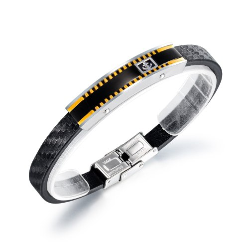 Simple Sports Hipster Geometric Titanium Steel Bracelet Fashion Personality Men's Leather Bracelet Wholesale Gb1407