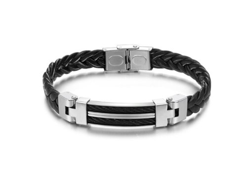 European and American Retro Charm Personality 100 Men's Black Leather Bracelet Wholesale Gb524