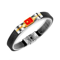 Creative Retro Woven Leather Five-star Red Flag Bracelet Commemorative Small Gift Bracelet Gb1427