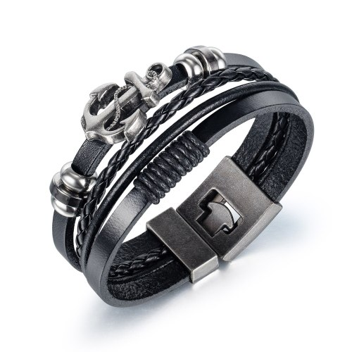 European Street Personality Eagle Head Multilayer Woven Men's Leather Bracelet Jewelry Gb1411