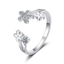 Drop Glaze White Small Flower Opening Ring Temperament Gentle Forest Ins Wind Flash Diamond Daisy Ring Female Xzjz343