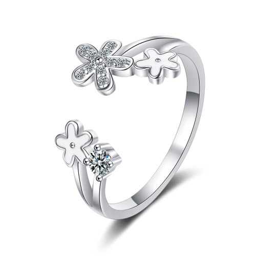 Drop Glaze White Small Flower Opening Ring Temperament Gentle Forest Ins Wind Flash Diamond Daisy Ring Female Xzjz343