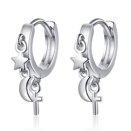 Small Star Moon Stud Earrings Female Korean Fashion Short Earrings XzEH580