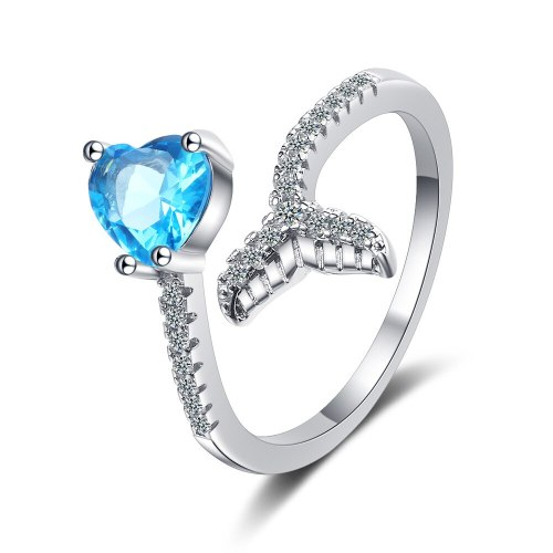 Heart-shaped Blue Diamond Ring Female Korean Fashion Ins Wind Fishtail Diamond Sweet Open Ring XzJZ339