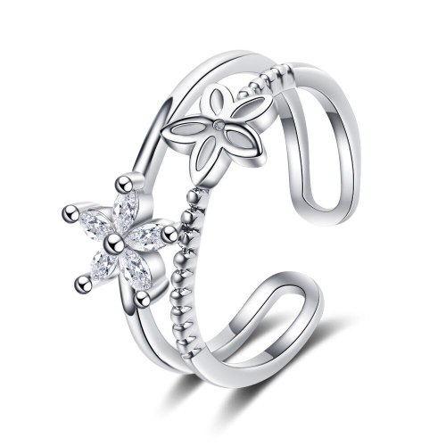 Ring Female Korean Version Small Fresh Diamond-encrusted Small Flower Double-layer Hollow Opening Hand Ornament XzJZ340
