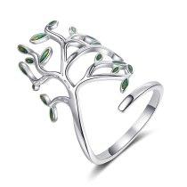 Ring Female Japanese and Korean Wind Green Leaf Opening Ring Ring Ring Art Leaf Single Ring XzJZ344