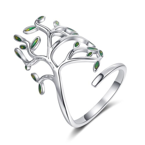 Ring Female Japanese and Korean Wind Green Leaf Opening Ring Ring Ring Art Leaf Single Ring XzJZ344