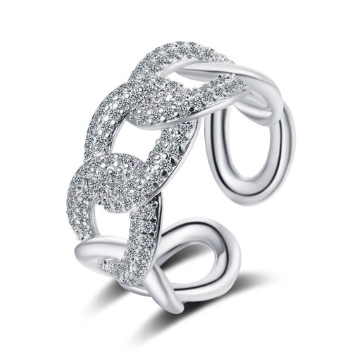 South Korea Micro Diamond Chain Ring Index Finger Ring for Women Light Luxury Opening Fashion Personalized Ring Xzjz342