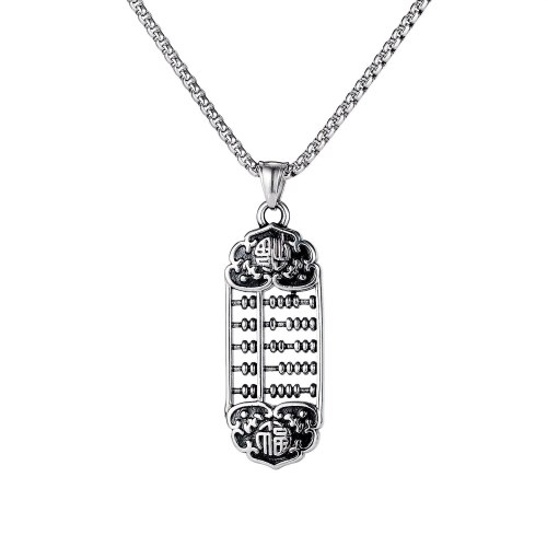 Personality Creativity Wishful Thinking Fortune Word Pendant Men's Titanium Steel Necklace Jewelry Wholesale GB1833