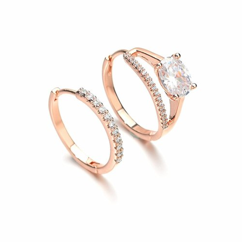 Korean AAA Zircon Inlaid Earrings Girl Temperament Asymmetric Ear Buckles Plating Real Rose Gold Niche Earrings QxWEK01