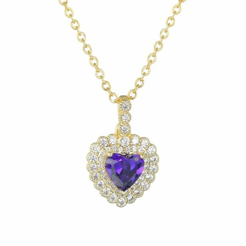 Korean Love Fashion Pendant AAA Zircon Inlaid Exquisite Necklace Qxwp17