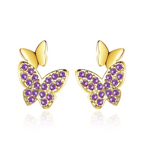 Stud Earrings New Butterfly Earrings Female Korea Exquisite Earrings Temperament Simple Joker Jewelry QxED899