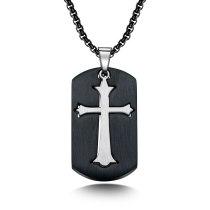 European Personality Geometry Square Cross Stainless Steel Pendant Titanium Steel Men's Necklace Gb1595