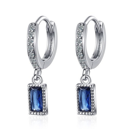 Earrings Women's Korean Literature and Art Small Fresh Zirconium Inlaid Sweet Blue Earrings Temperament Short Earrings Qxeh579