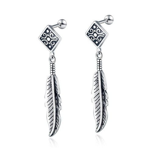 Korean Fashion Retro Simple Earrings Men's Personality Versatile Stainless Steel Feather Pendant Earrings Wholesale Gb578