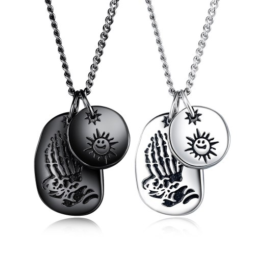Ins Chaopai Sun Smile Face Double Pendant Personality Versatile Stainless Steel Necklace for Men and Women Street Retro Gb1630