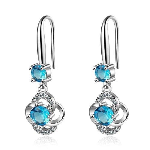 Diamond Earrings Female Fashion Sweet Flower Ear Hook Flower Earrings Long Earrings Xzeh561