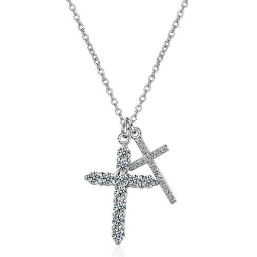 Cross Necklace Women Fashion Simple Temperament Zirconium Inlaid Pendant Sweater Chain Bone Chain Jewelry Xzdz514