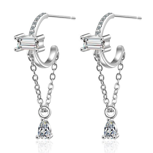 Long Tassel Water Drop Earrings for Women New Fashion Exquisite Temperament Personalized Earrings Simple Small Fresh Xzed892